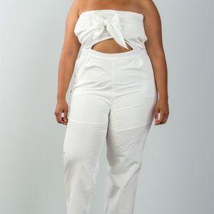 Pants - WHITE PLUS SIZE BOW  FRONT STRAPLESS JUMPSUIT